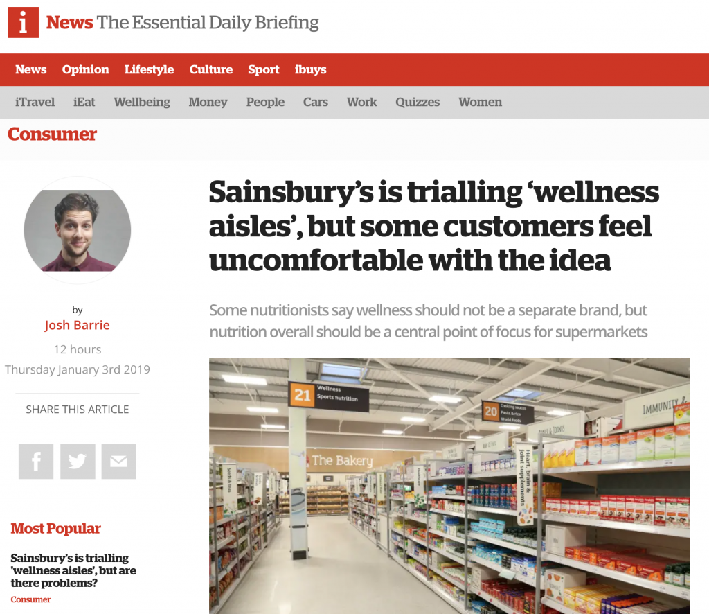 The new 'wellness aisles' at Sainsbury's – what are the problems?